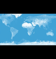 Blue World map background in polygonal style vector image