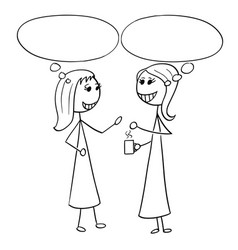 cartoon of two women business people talking vector image