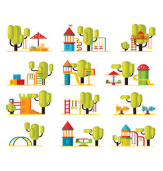 Colorful playground elements collection vector
