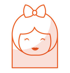 Cute little japanese doll head vector