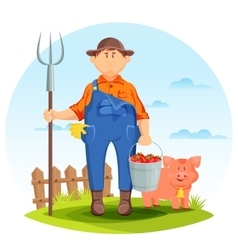Farmer man on farming field with pig and pitchfork vector image