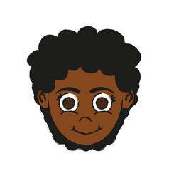 Girl dark skin happy child icon image vector