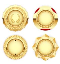 Golden medal and emblem insignia vector