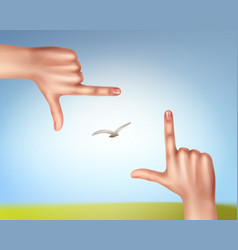 hands make frame vector image