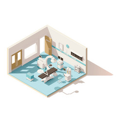 Isometric low poly operating room vector