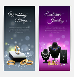 Jewelry realistic banners vector