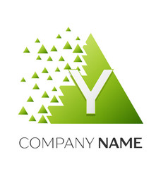 Letter y logo symbol in colorful triangle vector