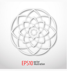 magic white lotus in circle 3d sacral geometry vector image vector image