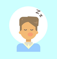 male sleeping emotion profile icon man cartoon vector image vector image