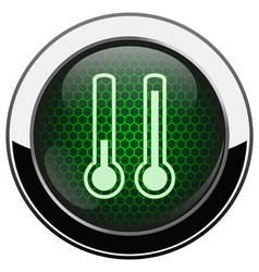 Metallic green honeycomb termometer icon vector