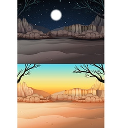 Nature scene with desert at day and night vector image vector image