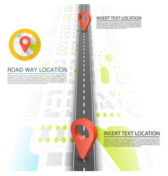 Paved path on the road road point location vector