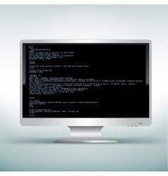 pc white monitor code vector image