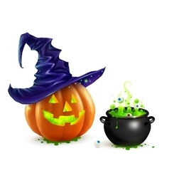 Realistic Halloween pumpkin in violet witch vector image