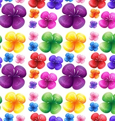 Seamless colorful flowers on white background vector image vector image