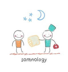 somnology gives the patient a sleep pillow vector image vector image