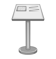 Stand in museum icon gray monochrome style vector