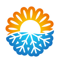 sun and snowflake symbol conditioning vector image