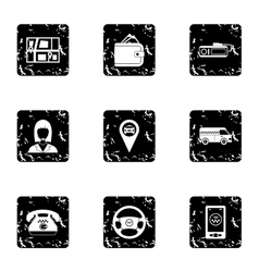 Taxi custom icons set grunge style vector