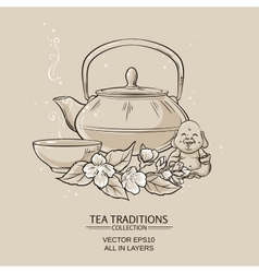 Tea with jasmine vector