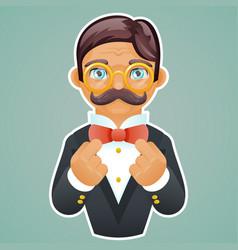 victorian gentleman businessman character mascot vector image vector image