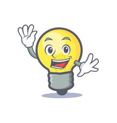 Waving light bulb character cartoon vector