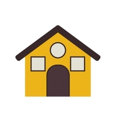 Yellow house with roff and windows vector