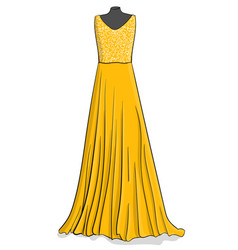 yellow long dress with white lace on the corse vector image