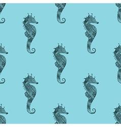 Zentangle stylized black sea horse blue seamless vector