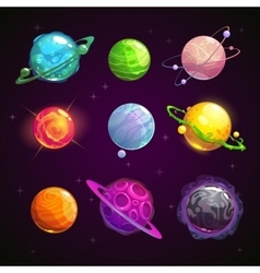 Colorful cartoon fantasy planets set vector
