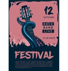 Music poster template for rock concert Octopus vector image