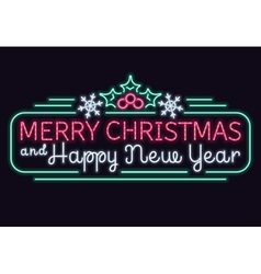 Neon lights merry christmas and happy new year vector