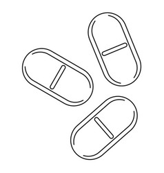 Three pills icon outline style vector