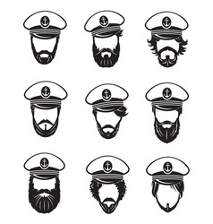Ship captains set vector