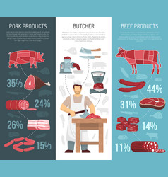 Meat products vertical vanners vector
