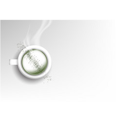 Isolated cup of coffee collection latte green tea vector