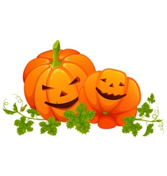 Two bright orange smiling pumpkins with leaves on vector