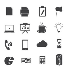 business office icons set vector image