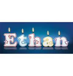Ethan written with burning candles vector