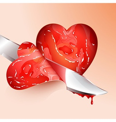 Cutting meat shape heart vector
