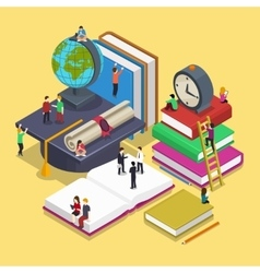 Isometric education graduation concept with people vector