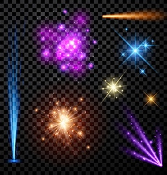 Festive color firework set vector