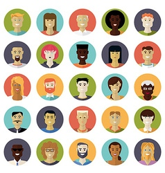 Flat design everyday people avatar icon set vector