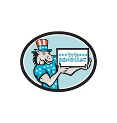 Vote democrat donkey mascot oval cartoon vector