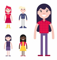 Set of female avatars and icons flat style vector