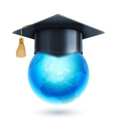 Graduation cap and world globe icon vector