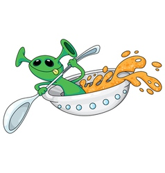 alien in a ufo vector image