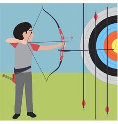 Archery athletic sport cartoon set vector