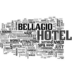 bellagio hotel text word cloud concept vector image