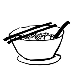 Bowl of noodle doodle vector